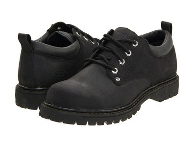 Skechers - Skechers Men Black Alley Cats Oxfords