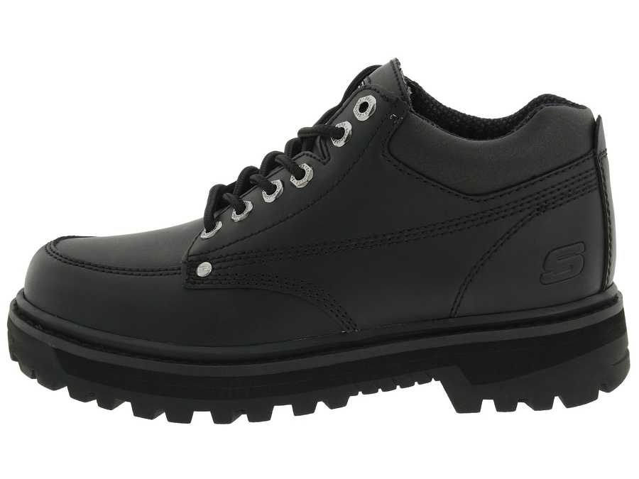 Skechers Men Black Oily Leather Mariner Lace Up Boots