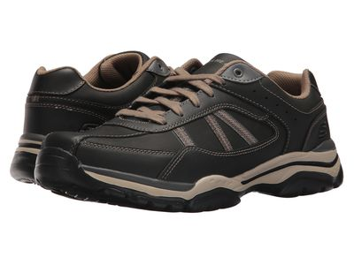Skechers - Skechers Men Black/Taupe Relaxed Fit Rovato - Texon Lifestyle Sneakers