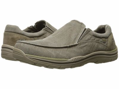 Skechers - Skechers Men Khaki Canvas/Suede Expected - Avillo Loafers