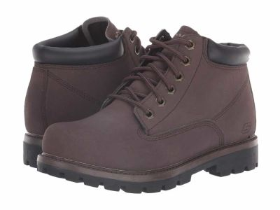 Skechers - SKECHERS Men's Chocolate Relaxed Fit Toric Amado Lace Up Boots