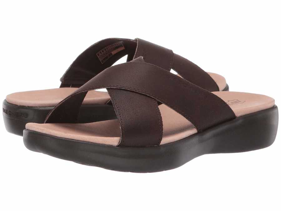 Skechers Performance Women Chocolate On-The-Go Luxe - Effortless Flat Sandals
