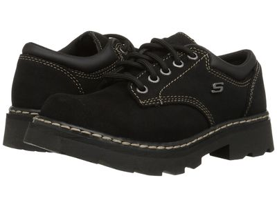 Skechers Women Black Scuff Resistant Leather Parties - Mate Oxfords