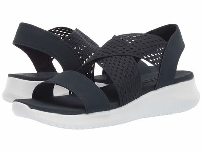 Skechers - Skechers Women Navy Ultra Flex - Neon Star Flat Sandals