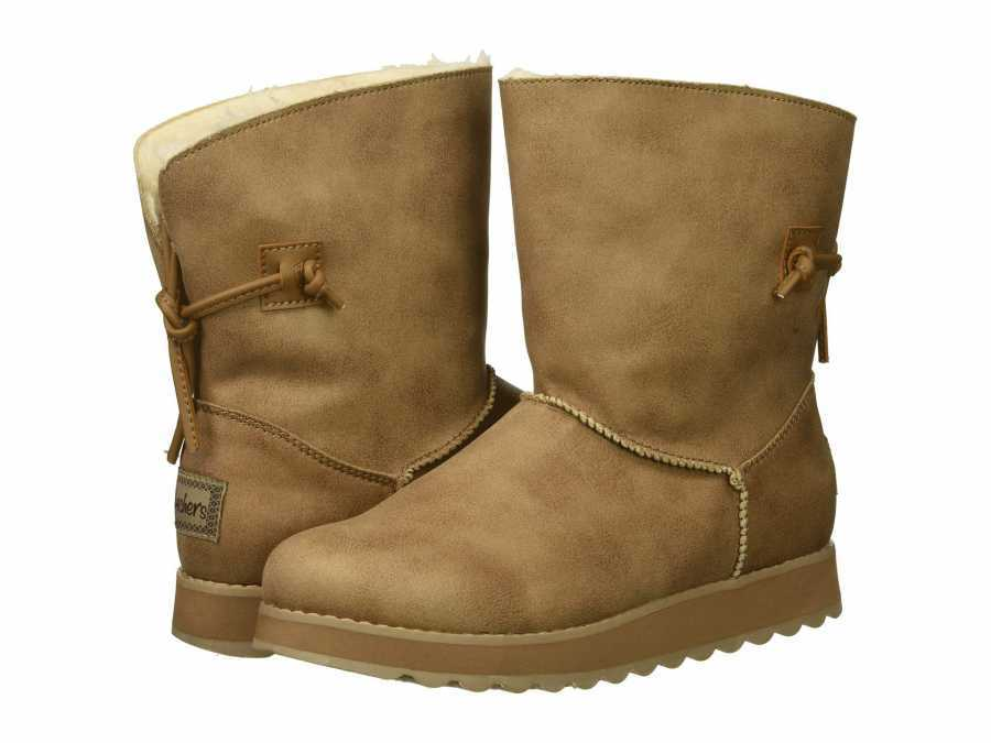 SKECHERS Women's Taupe Keepsakes 2.0 Shearling Style Boots