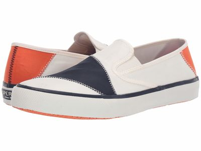 Sperry - Sperry Men White/Navy/Orange Captain'S Slip-On Bionic Lifestyle Sneakers