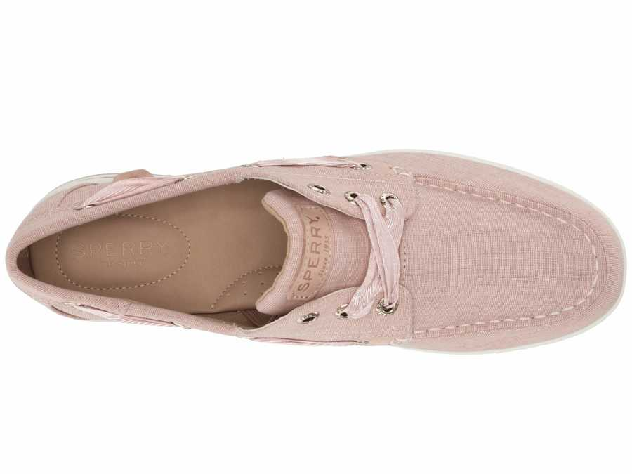 Sperry Women Pink Songfish Linen Boat Shoes