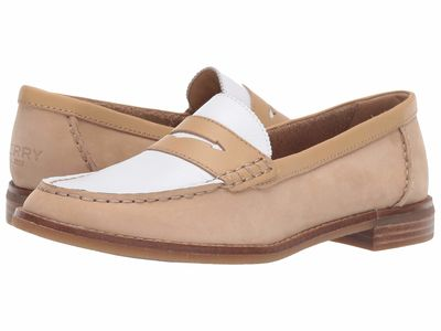 Sperry - Sperry Women Tan/White Seaport Penny Tri-Tone Loafers