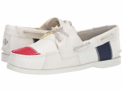 Sperry - Sperry Women White/Navy/Yellow Authentic Original 2-Eye Bionic Boat Shoes