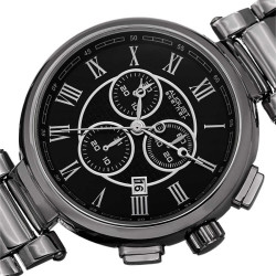 Steiner Men's Swiss Quartz Chronograph Bracelet Watch AS8148BK - Thumbnail