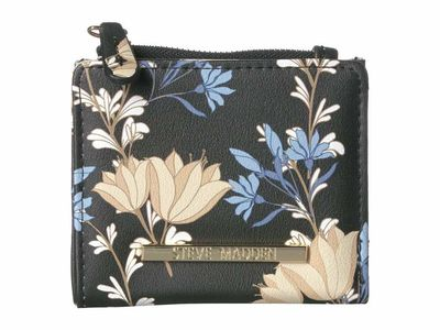 Steve Madden - Steve Madden Black Floral French Smooth Wallet Bi-Fold Wallet