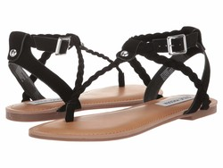 Steve Madden Women Black Braided Flat Sandals - Thumbnail