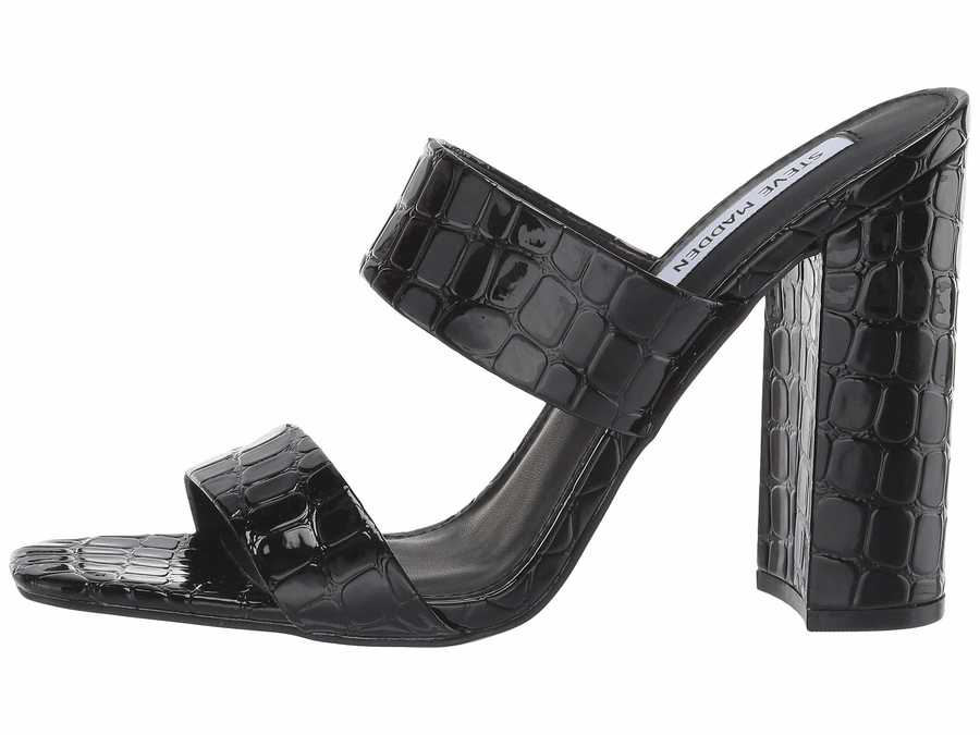 Steve Madden Women Black Croco Taya Heeled Mule Heeled Sandals