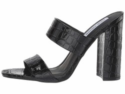 Steve Madden Women Black Croco Taya Heeled Mule Heeled Sandals - Thumbnail
