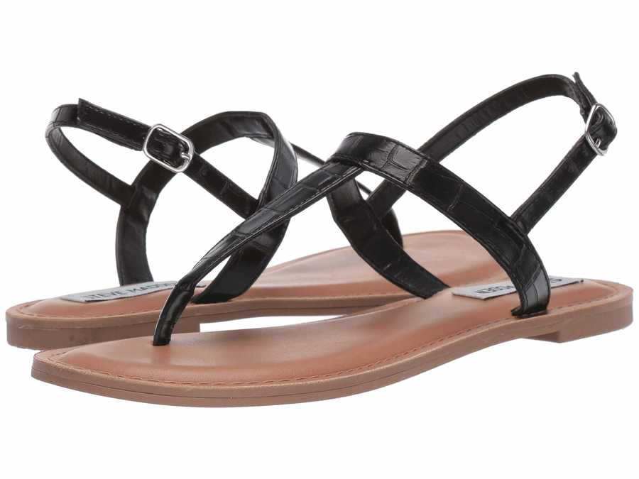 Steve Madden Women Black Lanza Flat Sandals