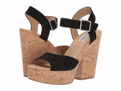 Steve Madden - Steve Madden Women Black Suede Jess Cork Wedge Heeled Sandals