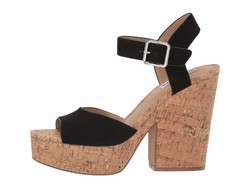 Steve Madden Women Black Suede Jess Cork Wedge Heeled Sandals - Thumbnail
