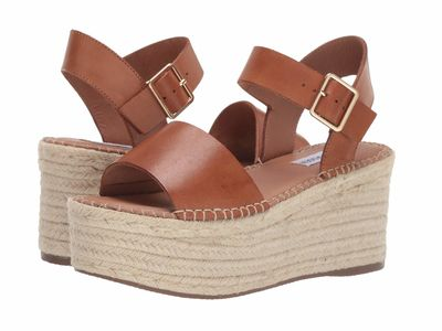 Steve Madden - Steve Madden Women Cognac Leather Cabo Espadrille Wedge Heeled Sandals
