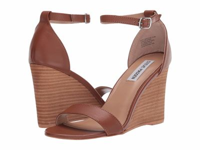 Steve Madden - Steve Madden Women Cognac Leather Mary Wedge Sandal Heeled Sandals