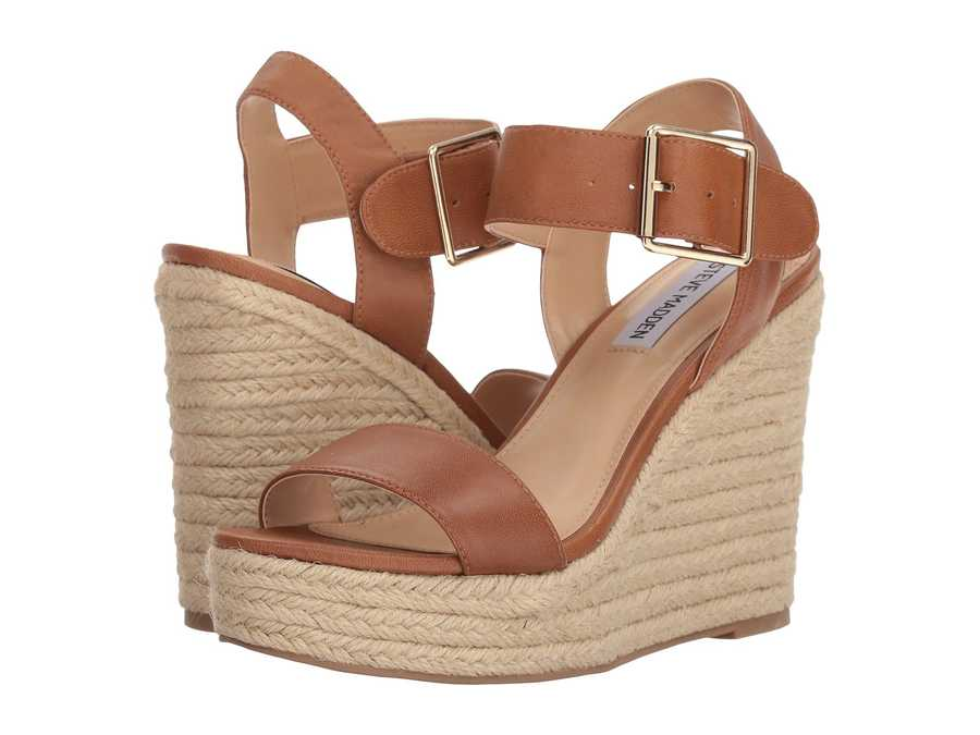 Steve Madden Women Cognac Leather Santorini Espadrille Wedge Sandal Heeled Sandals