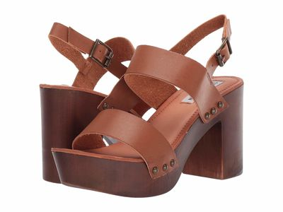 Steve Madden - Steve Madden Women Cognac Paris Blissful Heeled Sandal Heeled Sandals