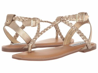 Steve Madden - Steve Madden Women Gold Braided Flat Sandals
