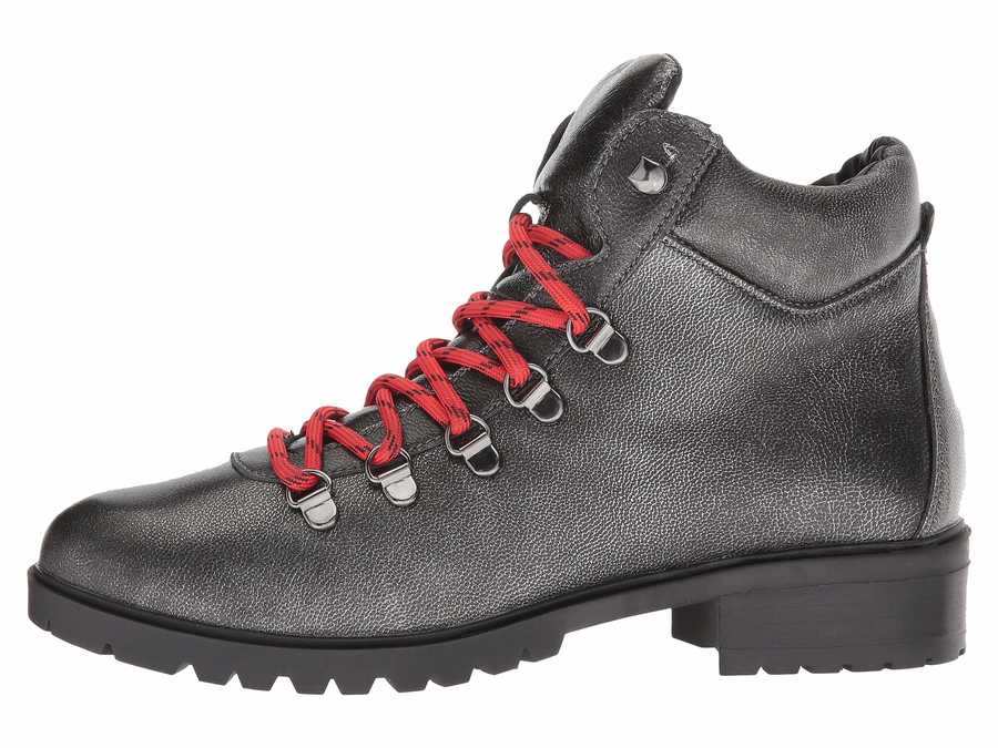 Steve Madden Women Pewter Leather Lora Lace Up Boots