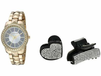 Steve Madden - Steve Madden Women's Madden Girl Glitter Band Watch with Two-Piece Hair Set SMGS022