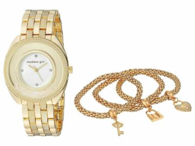 Steve Madden - Steve Madden Women's Madden Girl Watch with Charm and Stone Bracelet Set SMGS017