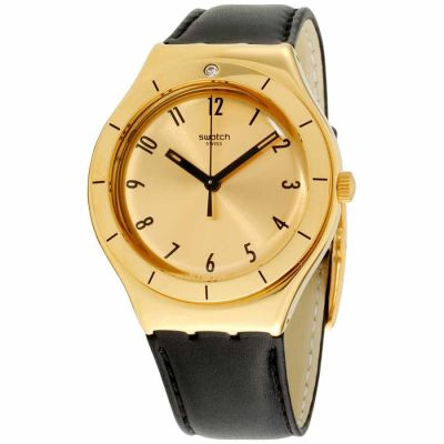 Swatch - Swatch Irony Coraggiosa Gold Dial Leather Strap Unisex Watch YGG105