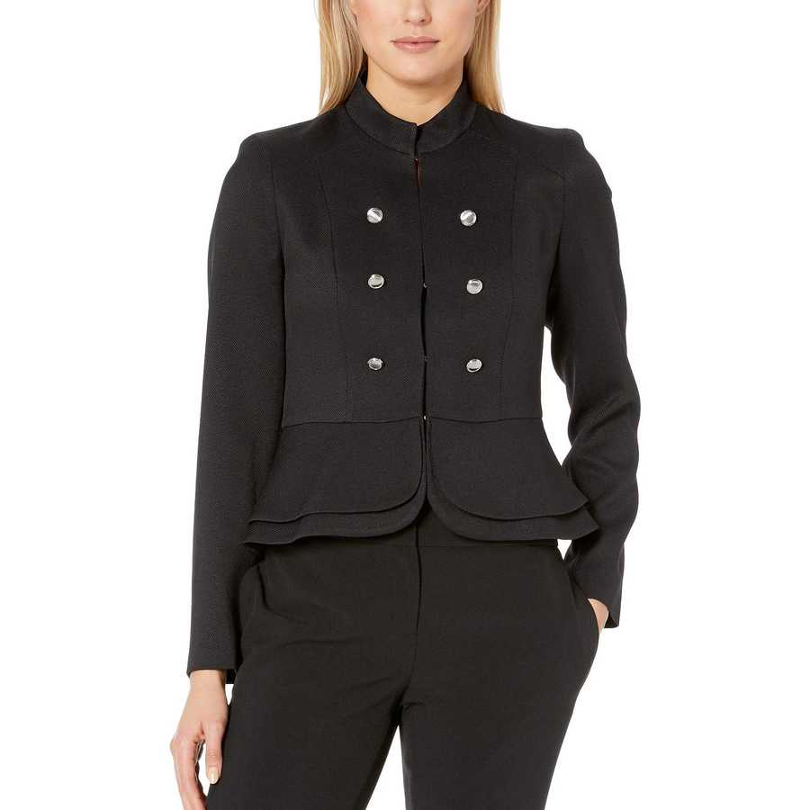 Tahari By Asl Black Double Peplum Jacket
