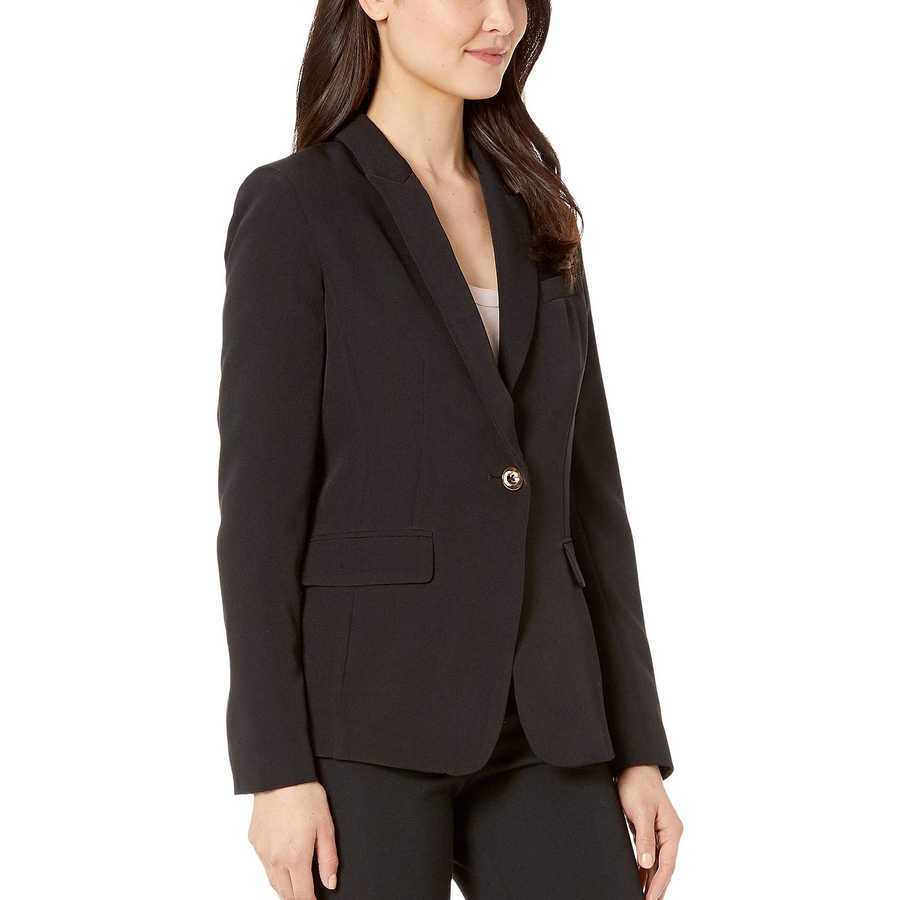 Tahari By Asl Black One-Button Flap Pocket Jacket