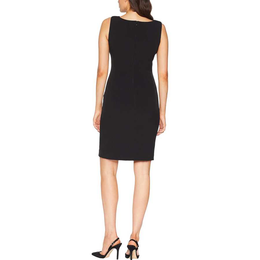 Tahari By Asl Black Side Ruched Sleeveless Dress With Cowl Neck