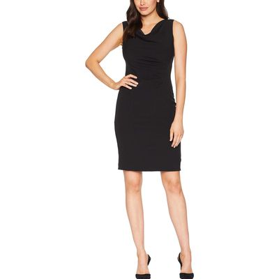 Tahari By Asl - Tahari By Asl Black Side Ruched Sleeveless Dress With Cowl Neck