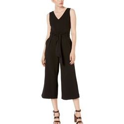 Tahari By Asl Black Sleeveless V-Neck Scuba Crepe Jumpsuit With Self Tie Waist - Thumbnail