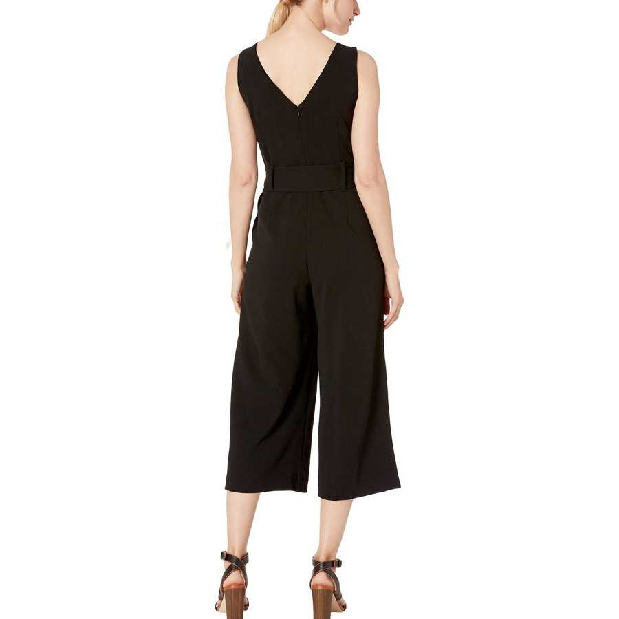 Tahari By Asl Black Sleeveless V-Neck Scuba Crepe Jumpsuit With Self Tie Waist
