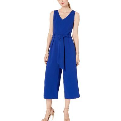 Tahari By Asl - Tahari By Asl Cobalt Sleeveless V-Neck Scuba Crepe Jumpsuit With Self Tie Waist