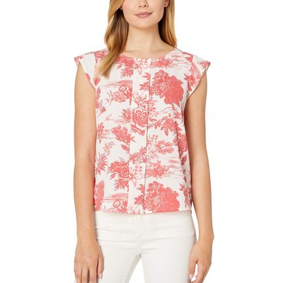 Tahari By Asl - Tahari By Asl Country Toile Coral Cap Sleeve Pleat Front Top