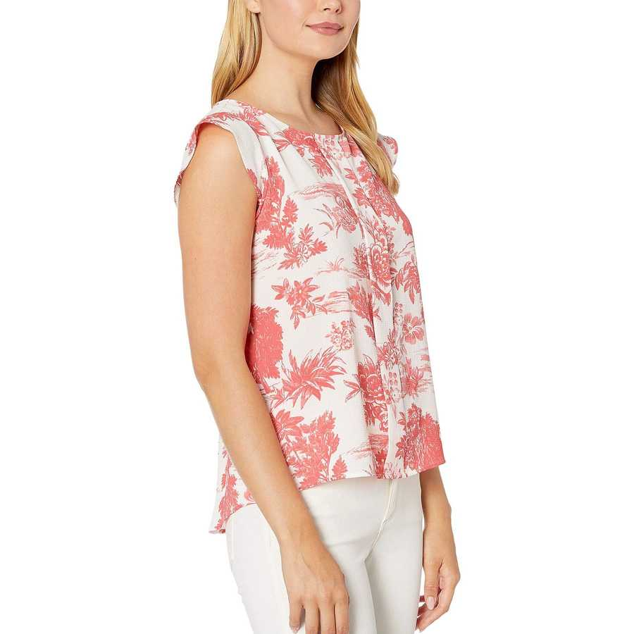 Tahari By Asl Country Toile Coral Cap Sleeve Pleat Front Top