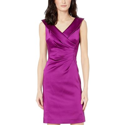 Tahari By Asl - Tahari By Asl Currant Stretch Satin Dress With Side Ruching And Portrait Neckline