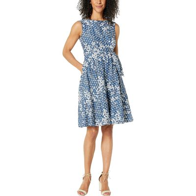 Tahari By Asl - Tahari By Asl Floral Dot Sleeveless Embroidered Floral Dot Dress W/ Side Tie Detail