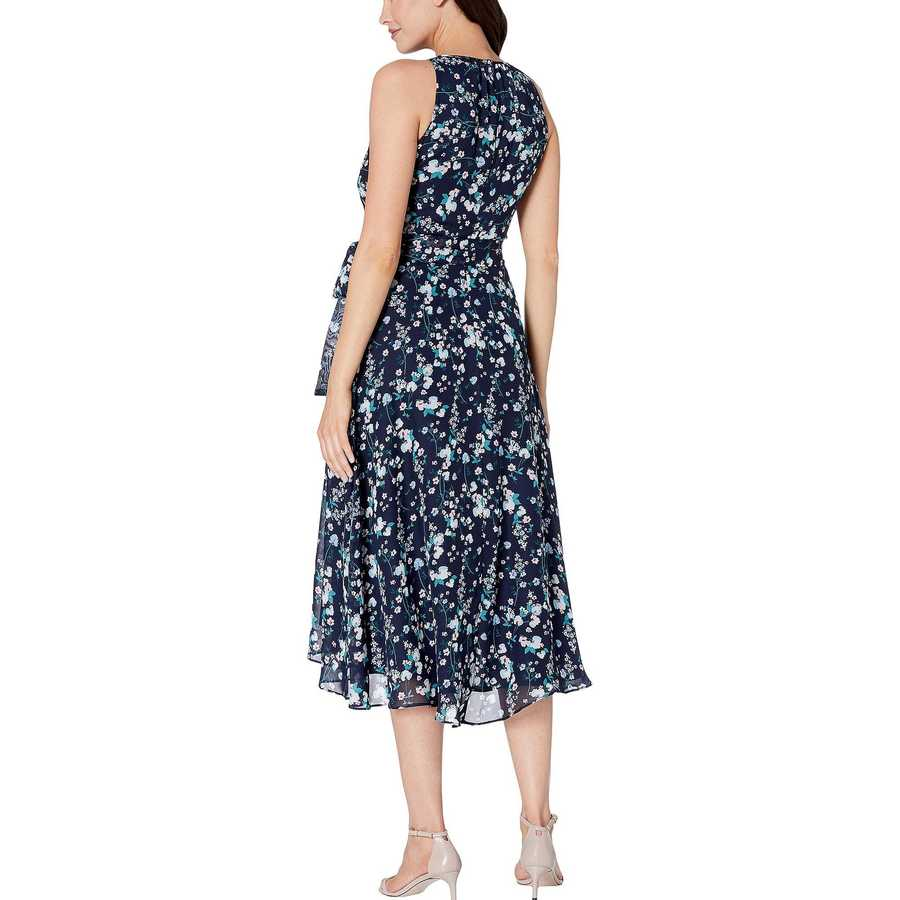 Tahari By Asl Floral Spray Navy Sleeveless Printed Chiffon Mini Floral Halter Dress With High-Low Hemline