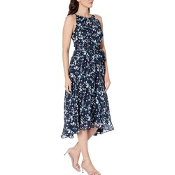 Tahari By Asl Floral Spray Navy Sleeveless Printed Chiffon Mini Floral Halter Dress With High-Low Hemline - Thumbnail