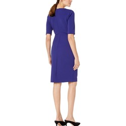 Tahari By Asl Ink Short Sleeve Crepe Dress With Side Pleat Detail - Thumbnail