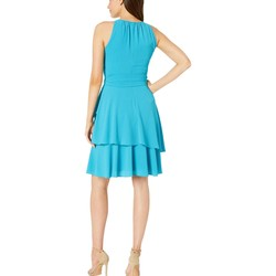 Tahari By Asl Lovely Blueberry Pebble Crepe Sleeveless Tiered Halter Dress With Keyhole Neckline - Thumbnail