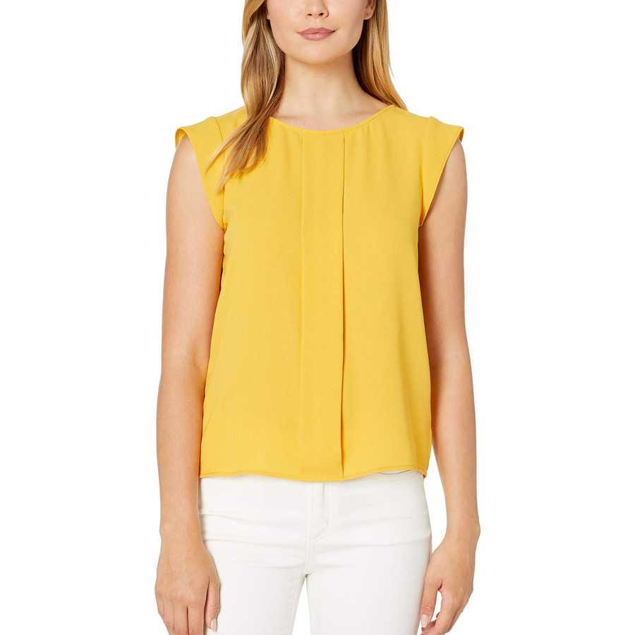 Tahari By Asl Marigold Cap Sleeve Pleated Front Top