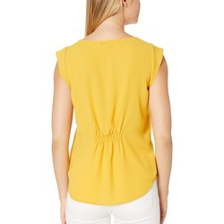 Tahari By Asl Marigold Cap Sleeve Pleated Front Top - Thumbnail