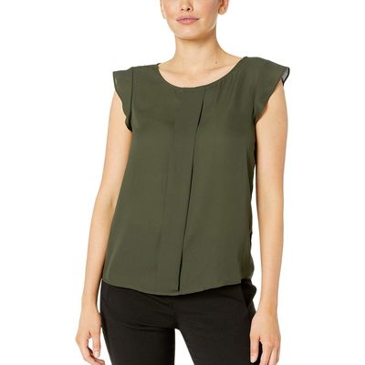 Tahari By Asl - Tahari By Asl Military Flutter Sleeve Top