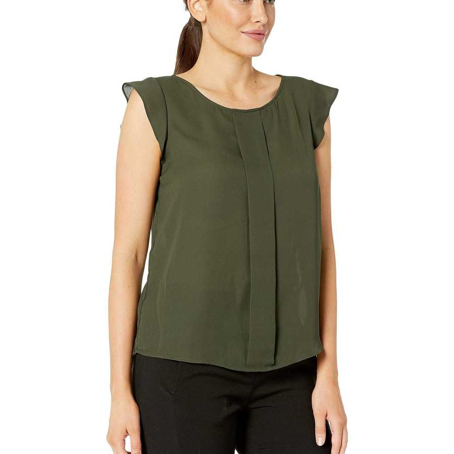 Tahari By Asl Military Flutter Sleeve Top