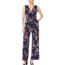 Tahari By Asl Mixed Bouquet Navy Printed Stretch Jersey Floral Jumpsuit - Thumbnail